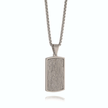 Beige Stone Dog Tag Necklace // Silver