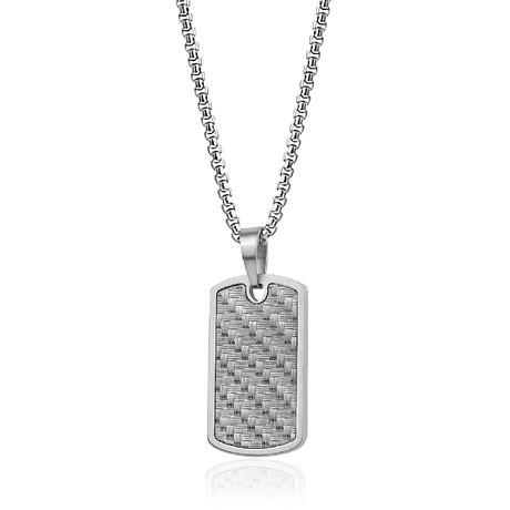 Woven Design Dog Tag Necklace // Gunmetal