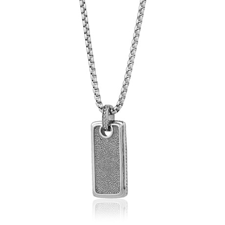 Textured Dog Tag Necklace // Silver