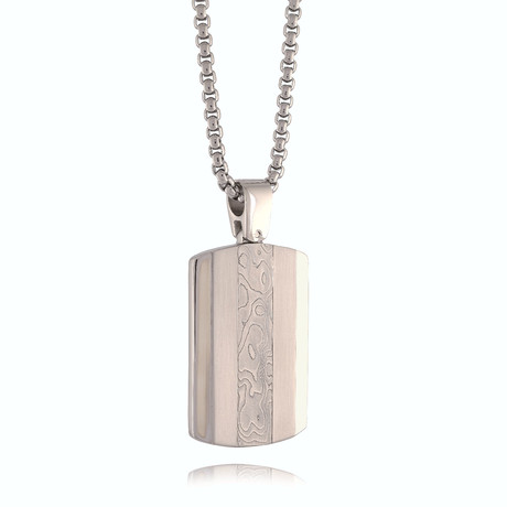 Damascus Striped Dog Tag Necklace // Silver