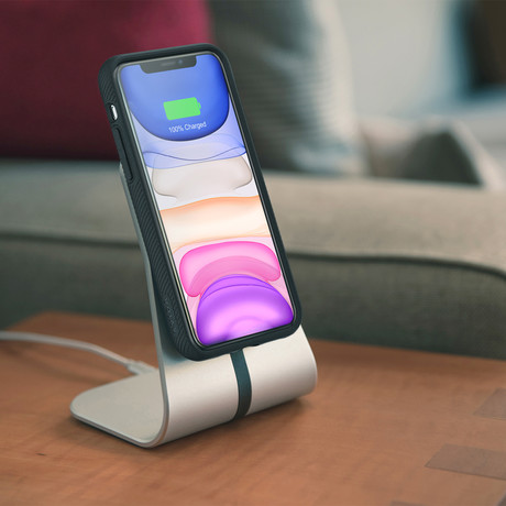 Magnetic Qi Wireless Charging Desk Stand (Silver)
