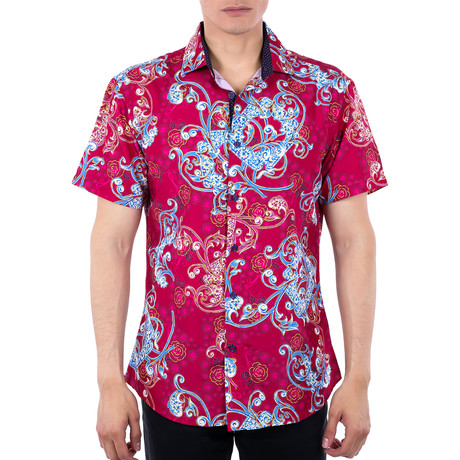 Trayvon Short-Sleeve Button-Up Shirt // Red (XS)
