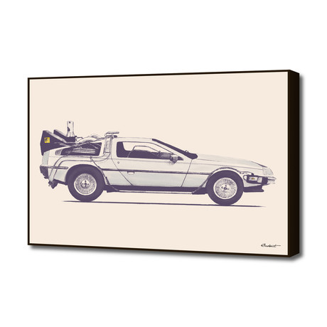 "Famous Car #2 - Back to the Future's Delorean (20""W x 16""H x 1.5""D)"