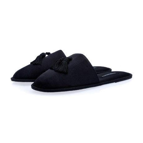 Louis Satin Home-Slippers // Black (Euro: 39)
