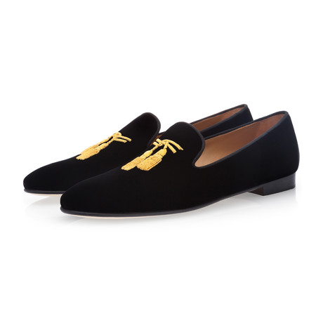 Royal Velour Slippers // Black (Euro: 39)