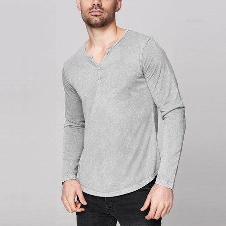 Caleb Long Sleeve Shirt // Gray (Small)