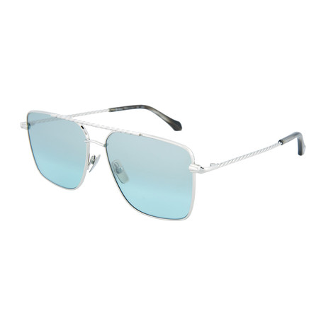 Men's Square Sunglasses // Silver + Light Blue