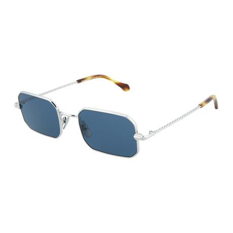Men's Square Sunglasses // Silver + Blue