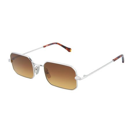 Men's Square Sunglasses // Silver + Brown