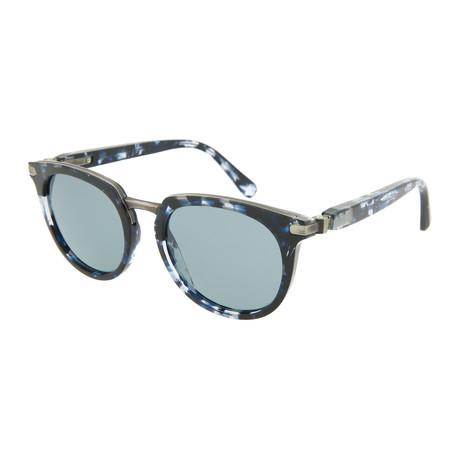 Men's Round Sunglasses // Shiny Blue Havana
