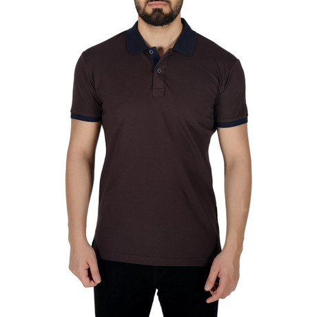 Solid Color Polo Shirt // Brown (S)