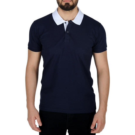 Solid Color Polo Shirt // Dark Blue (S)