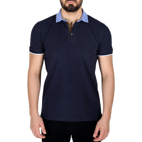 Solid Color Polo Shirt // Dark Navy Blue (S)