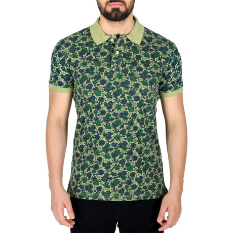 Floral Print Polo Shirt // Green (S)