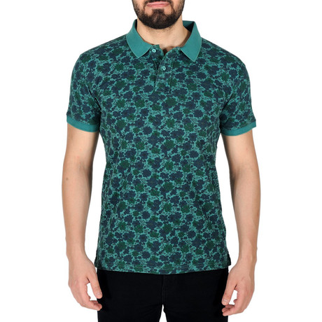 Floral Print Polo Shirt // Mint Green (S)