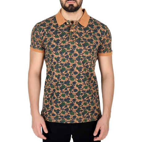 Floral Print Polo Shirt // Camel (S)