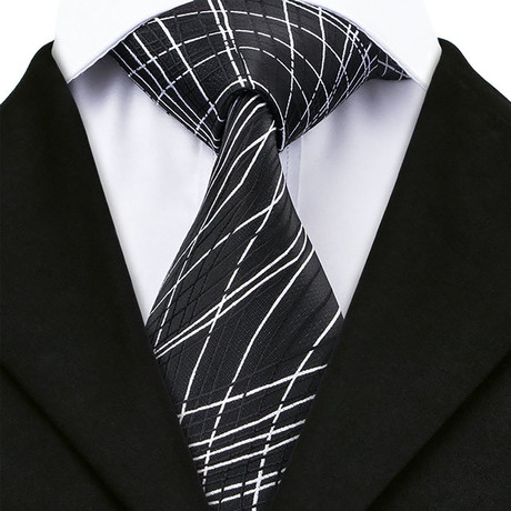 Gael Handcrafted Silk Tie // Black + White