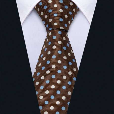 Frank Handmade Silk Tie // Brown + Blue