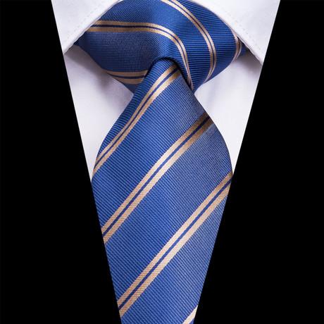 Loucas Handcrafted Silk Tie // Blue + Silver