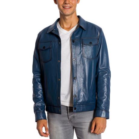 Edgar Leather Jacket // Blue (XS)