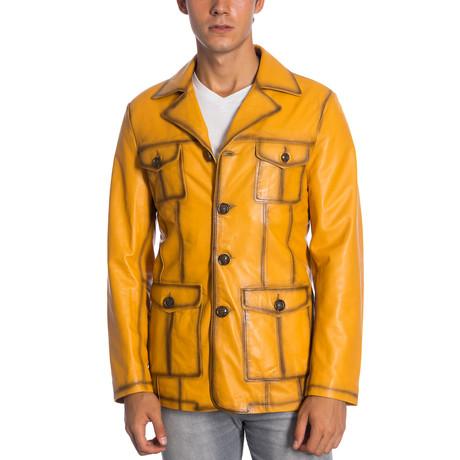 Yandell Leather Jacket // Yellow (XS)