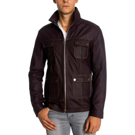 Ubaid Leather Jacket // Claret Red (XS)