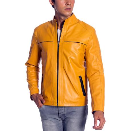 Kyle Leather Jacket // Yellow (XS)