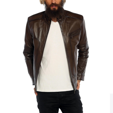Kiran Leather Jacket // Brown (XS)