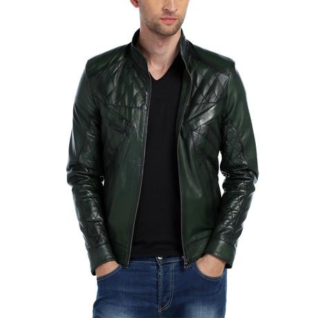 Elton Leather Jacket // Green (XS)