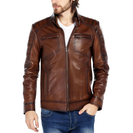 Riley Leather Jacket // Brown (XS)