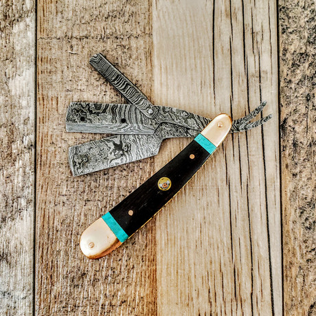 Replaceable Blade Straight Razor // Copper + Wenge + Turquoise Handle + Damascus Clamp