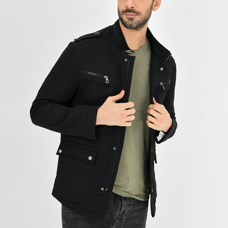 Textured Motto Jacket // Black (S)