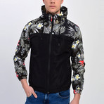 Floral Print Windbreaker // Black (S)