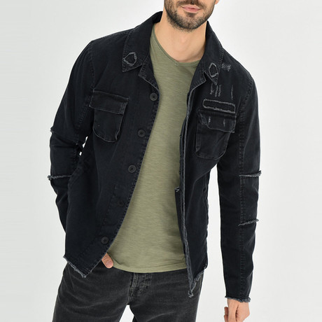 Distressed Shirt Jacket // Black (S)