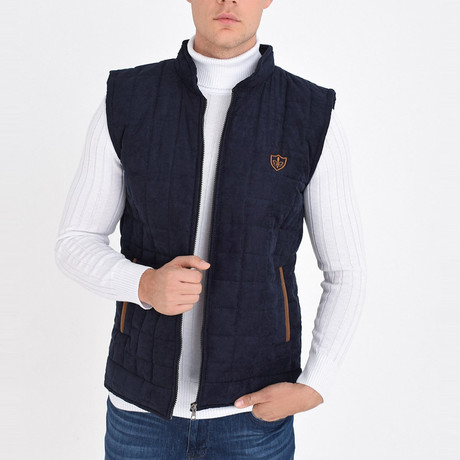 Quilted Textured Vest // Navy Blue (S)