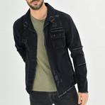 Distressed Shirt Jacket // Black (M)