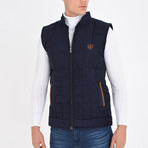 Quilted Textured Vest // Navy Blue (L)