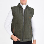 Quilted Textured Vest // Green (M)