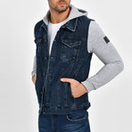 Denim Shirt Vest Jacket // Navy Blue (M)