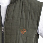 Quilted Textured Vest // Green (L)
