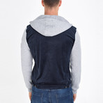 Shirt Vest Jacket // Navy Blue (M)