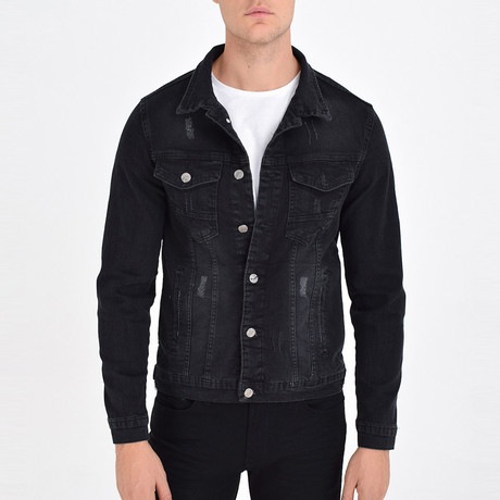 Distressed Trucker Jacket // Black (S)