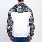 Floral Print Windbreaker // White (S)