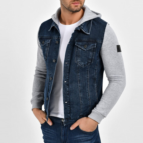 Denim Shirt Vest Jacket // Navy Blue (S)