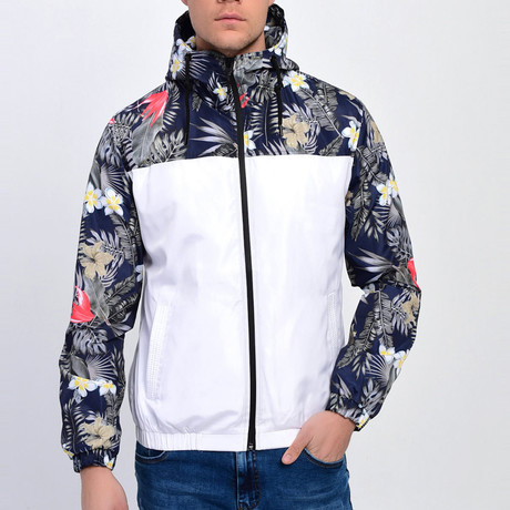 Floral Print Windbreaker // White (S)