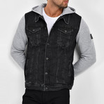 Denim Shirt Vest Jacket // Black (M)