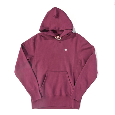 Reverse Weave Pullover Hoodie // Cranberry Mauve (S)