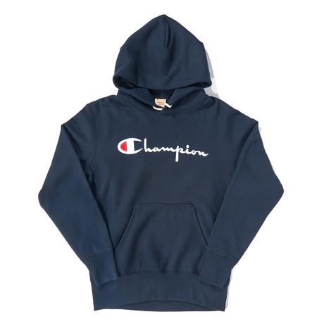 Logo Reverse Weave Pullover Hoodie // Navy (S)