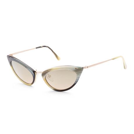 Women's FT0349-64J-52 Grace Sunglasses // Colored Horn + Brown