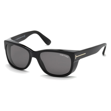 Men's FT0441-01A-56 Carson Sunglasses // Shiny Black + Gray